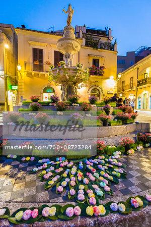 Fountain in Duomo Square, Taormina, Sicily, Italy