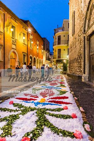 Flower Design on Ground for Festival at Dusk at Duomo di Taormina, Taormina, Sicily, Italy