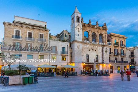 Piazza Mercantile at Dusk in Bari, Puglia, Italy