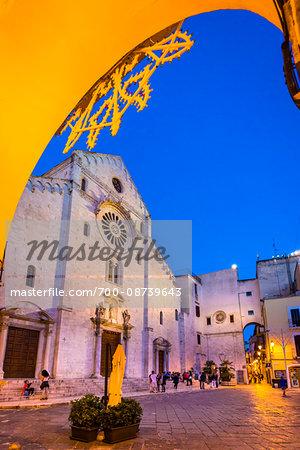 Duomo di Bari dedicated to St Sabinus of Canosa (San Sabino) at Dusk, Bari, Puglia, Italy
