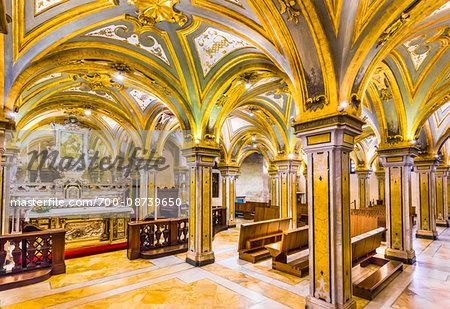 Interior of Crypt in Duomo di Bari dedicated to St Sabinus of Canosa (San Sabino), Bari, Puglia, Italy
