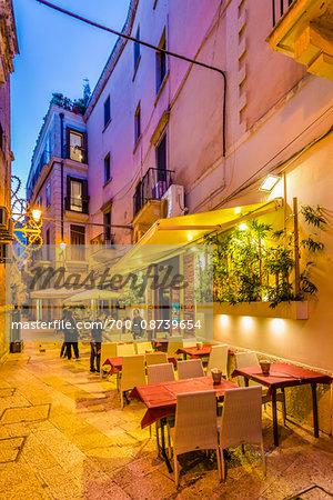 Sidewalk Cafe at Dusk in Bari, Puglia, Italy