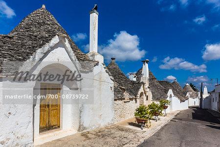 Street with Trulli Houses in Alberobello, Puglia, Italy