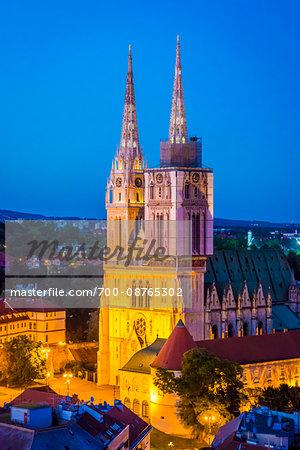 Zagreb Cathedral at Night, Zagreb, Croatia