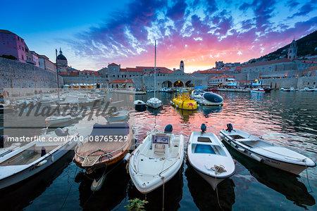 Boats in Harbour at Sunset in Dubrovnik, Dalmatia, Croatia