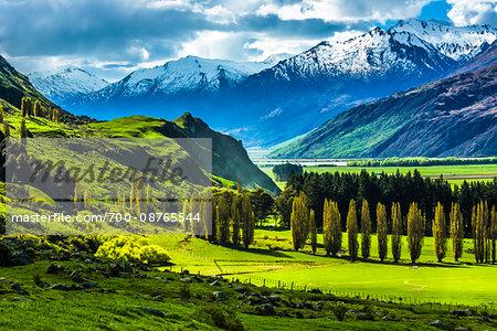 Farmland and moutain views near the Treble Cone ski area at Glendhu Bay in the Otago Region of New Zealand