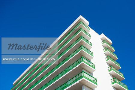 Upper section of hotel with balconies in Puerto de la Cruz on Tenerife in the Canary Islands, Spain