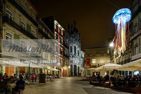 Sidewalk Cafes on Rua das Flores at Night, Porto, Portugal
