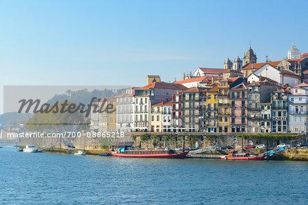 The city of Porto and the Cais da Ribeira on the Douro River in Portugal