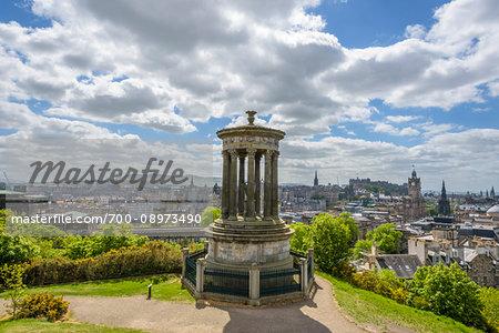 Dugald Stewart Monument on Calton Hill overlooking the city of Edinburgh in Scotland, United Kingdom