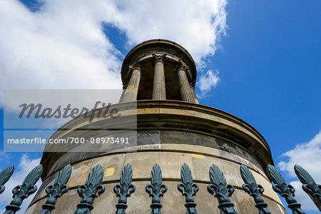 Close-up of the Dugald Stewart Monument on Calton Hill in Edinburgh, Scotland, United Kingdom