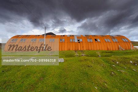Old rusted warehouse on the Isle of Skye in Scotland, United Kingdom