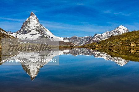 The Matterhorn reflected in Riffelsee Lake at Zermatt, Switzerland