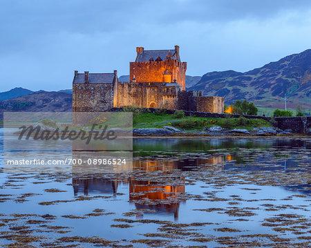 Eilean Donan Castle at dusk near Kyle of Lochalsh in Scotland, United Kingdom