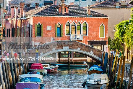 Ponte Marcello crossing the Rio de Malcanton canal on a sunny morning in Venice, Italy.
