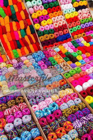 Colorful balls of wool for sale at the Tianguis de los Martes (Tuesday Market) in San Miguel de Allende, Mexico
