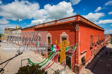 Street scene with traditional buildings in San Miguel de Allende, Mexico