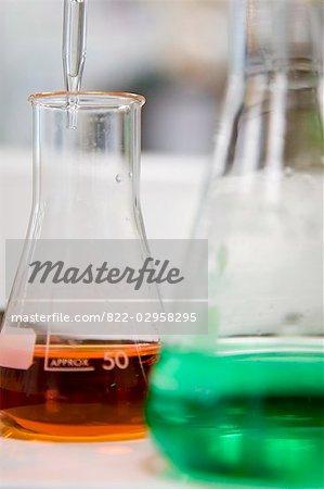 Close up of Erlenmeyer flasks