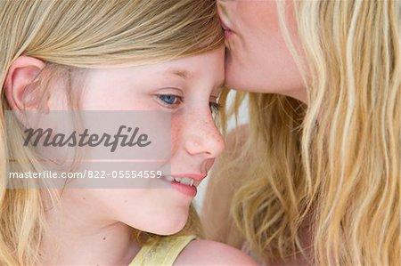 Woman Kissing Girl on Forehead