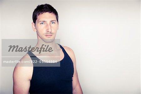 Man Wearing Sleeveless Tank Top