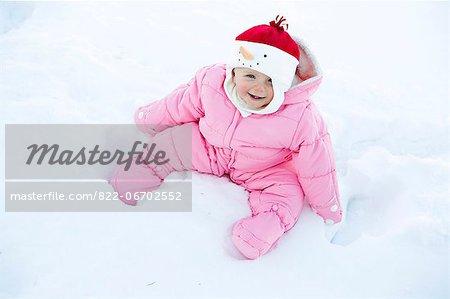 Baby Girl Sitting in Snow