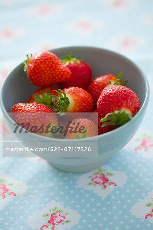Fresh Strawberries in Blue Bowl
