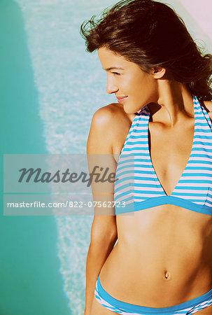 Young Woman Wearing Striped Bikini