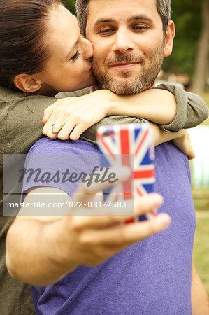 Couple Taking Selfie Outdoors
