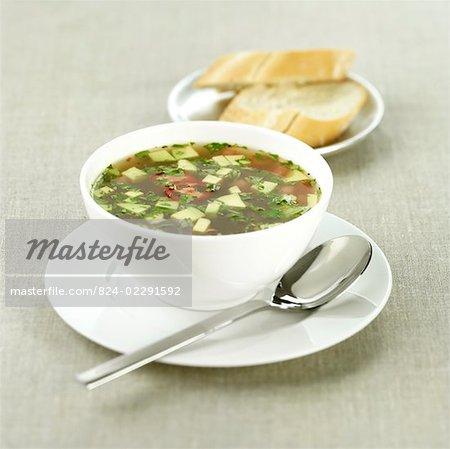 Avocado and chicken soup