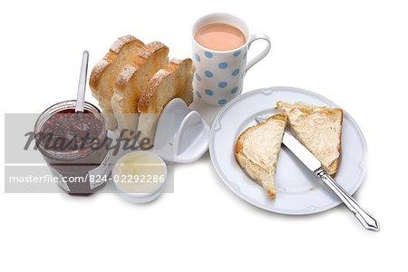 Breakfast/ Toast jam/ tea