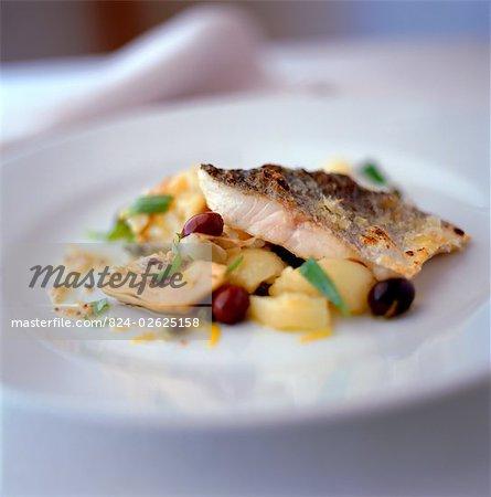 Sea Bass with Potato and Artichoke Salad