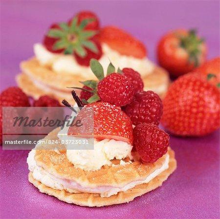 Belgian waffles with cream