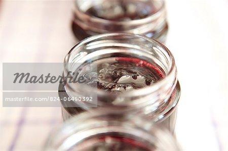 Blackcurrant Jam in jars - step shot, blackcurrant jam