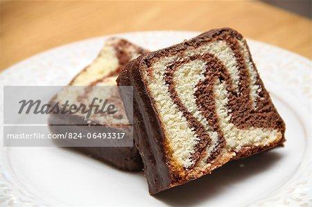 Chocolate and vanilla swirl cake