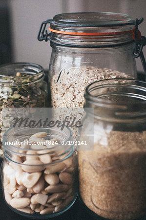 Mixed Jars of Seeds & Oats