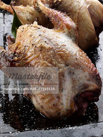 Roast partridges in a pan
