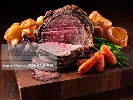 Irish roast beef joint with garlic