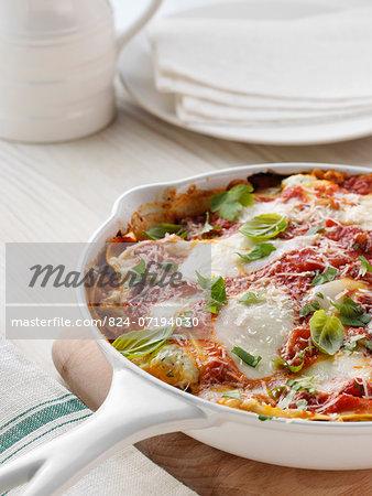 A skillet of vegetarian lasagna
