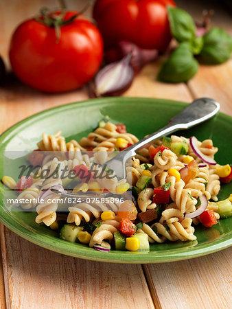 Individual portion of vegetarian pasta salad