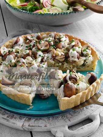 Onion mushroom and feta flan