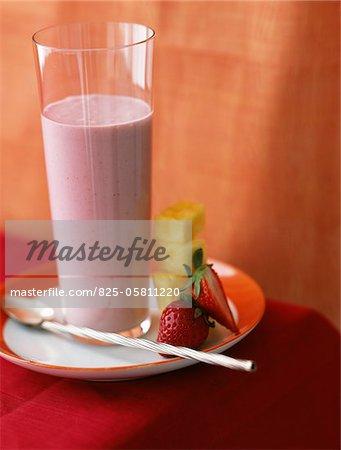 Strawberry and pineapple milk shake