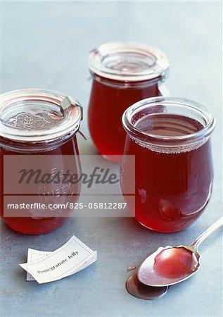 Pots of pomegranate jelly