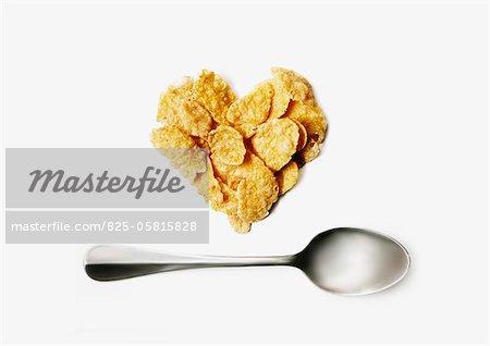 Cornflake heart and spoon