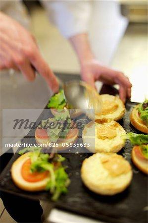 Preparing hamburgers
