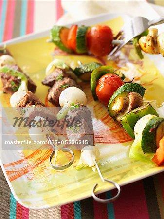 Lamb and vegetable skewers