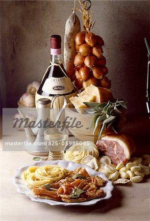 veal, ham, sage, Saltimbocca Italian cuisine