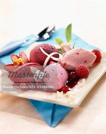 Summer fruit, strawberry and raspberry ice cream dessert