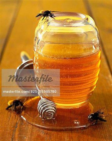 Jar of honey with bee