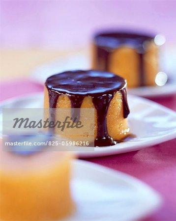 Sweet potato flan with chocolate sauce