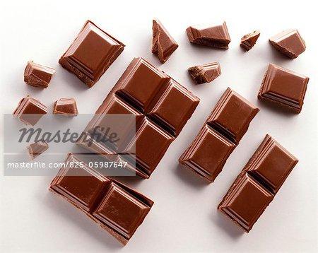 Broken chocolate squares